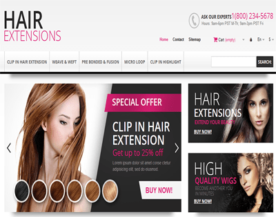 HAIR EXTENSION E COMMERCE WEBSITE